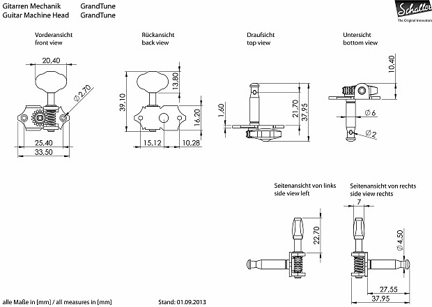 Mecaniques Schaller Grand Tune 3L3R StyleWaverly 1:18  Black Tuners Ebony Ebene