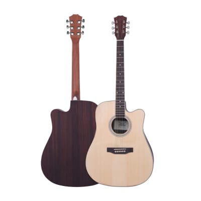 Glarry GT604 41inch Dreadnought Spruce Front Cutaway Rosewood Back Folk Acoustic Guitar Natural for sale
