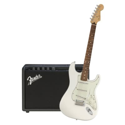 Fender Player Stratocaster Polar White Pau Ferro & Fender Mustang GT 40 for sale
