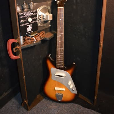 Don Noble Vintage Japanese 50-60's Tobacco Burst Electric Guitar with Tube Amp built in Case for sale