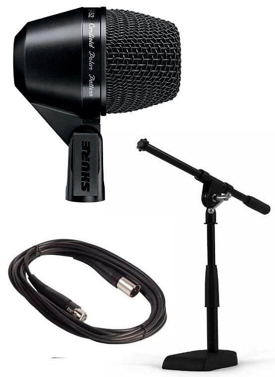 Shure PGA52 Kick Drum Mic w/ 15ft XLR Cable & Mini-Boom Microphone Stand