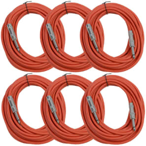 """Seismic Audio SASTSX-25RED-6PK 1/4"""" TS Instrument/Patch Cable - 25' (6-Pack)"""