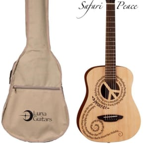 Luna Safari Series Peace Travel-Size Dreadnought Acoustic Guitar, SAF PCE for sale