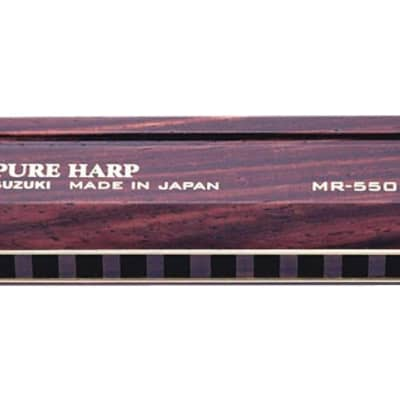 Suzuki SU-MR550 Pure Harp Wooden Key of A 10-Hole Diatonic Harmonica MR-550