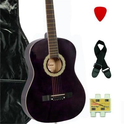 De Rosa DK3810R-DBP Kids Acoustic Guitar Outfit w/Gig Bag, Pick, Strings, Pitch Pipe & Guitar Strap for sale