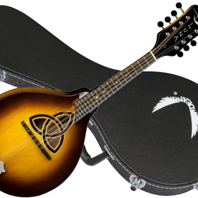 LUNA Trinity A-style acoustic Mandolin w/ Caes NEW Celtic Inlay - Tobacco Burst for sale