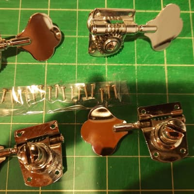 Four (4) In-line Fender MIM Bass Tuners Chrome