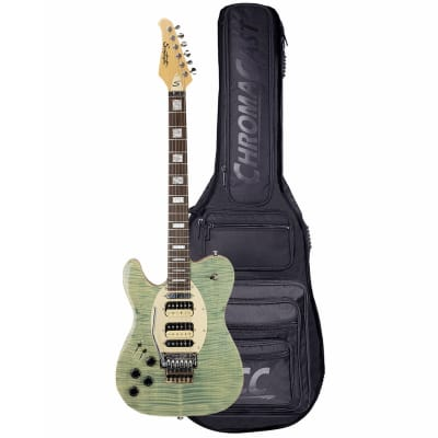 Sawtooth ET Hybrid Left-Handed Electric Guitar with Floyd Rose, Flame Maple Grass Stained Blue Jean, with ChromaCast Pro Series Gig Bag for sale
