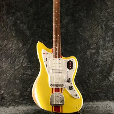 Shelton Electric Instruments Galaxy Flite III Graffiti Yellow with Dakota Red Stripe for sale