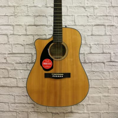 Fender CD-60SCE Solid Top Dreadnought Acoustic-Electric Guitar, Left Handed - Natural