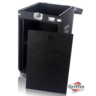 Rack Mount Cabinet Flight Case - Studio Mixer DJ PA Cart Stand Music Gear Stage