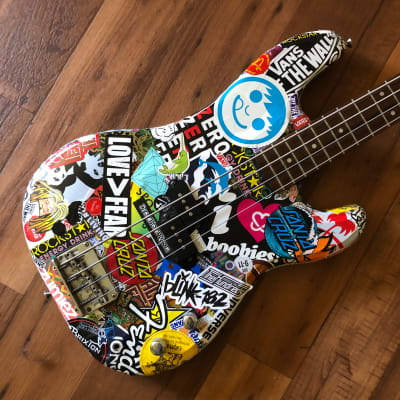 One of a kind custom stickerbombed Samick P Bass copy for sale