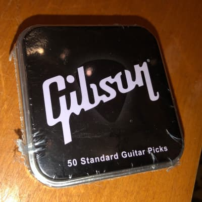 Gibson 50 Pack Metal Tin of Heavy Black Guitar Picks(APRGG50-74H)Brand New! for sale