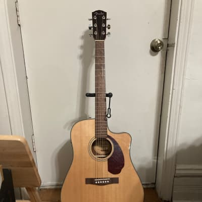 Fender CD-140SCE 6-String Solid Spruce/Rosewood Cutaway Dreadnought w/ Electronics Natural + Case
