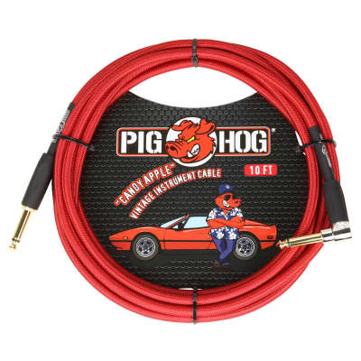 """Pig Hog """"Candy Apple Red"""" Vintage Instrument Cable, 10ft Right Angle (PCH10CAR)"""