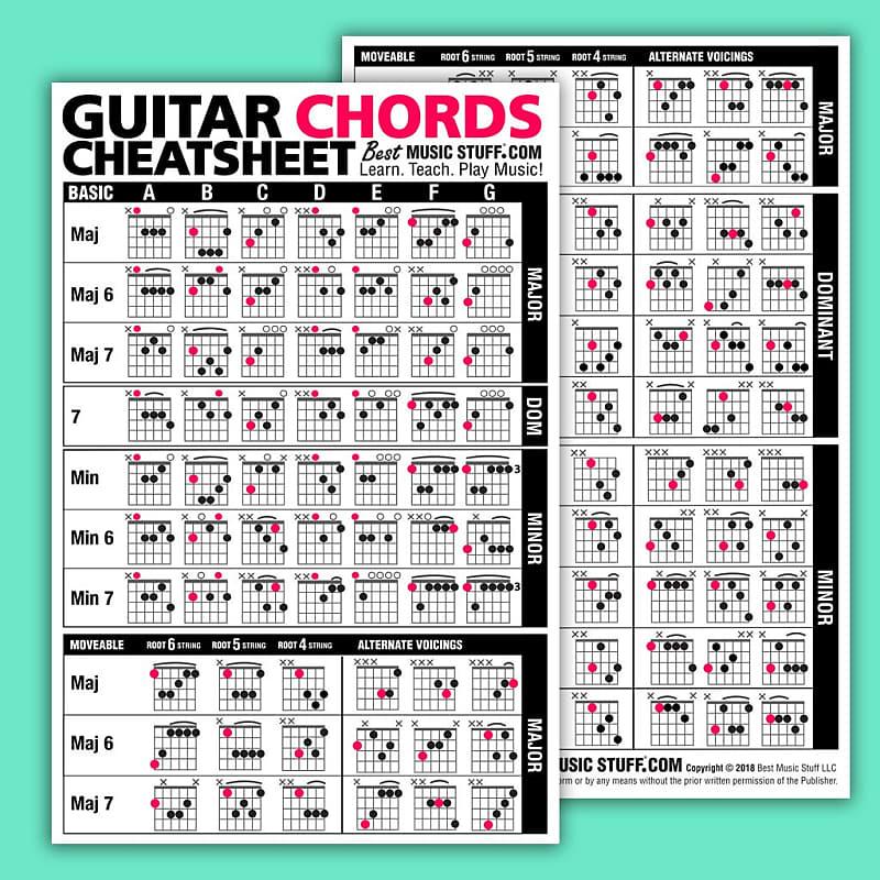 Jumbo Guitar Chords Cheatsheet Quick Reference Laminated Reverb