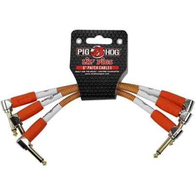 "Lifetime Warranty Pig Hog Lil Pigs 6"" Patch Cables, 1/4""-1/4"" Right Angle Connector, 3 Pk Orange"