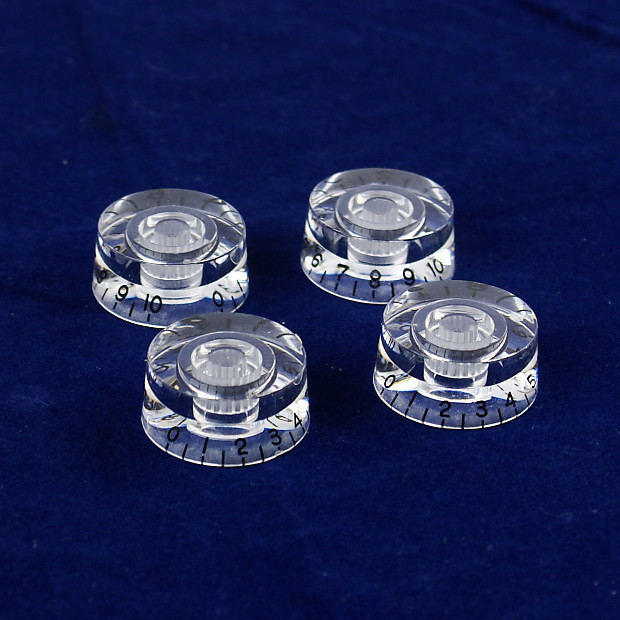 A Set of 4 Top Hat Bell Style Guitar Speed Knobs with Transparent Style