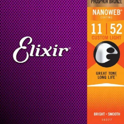 Elixir 16027 Nanoweb Phosphor Bronze Acoustic Guitar Strings - Custom Light (11-52)