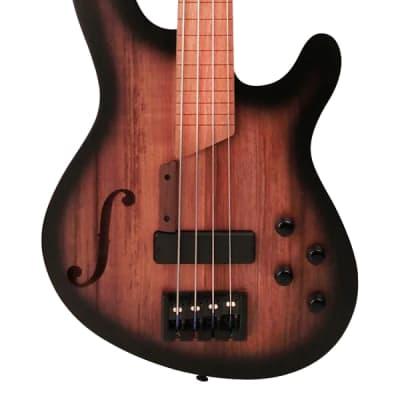 Cort B4FL MHPZ, Mahogany Chambered, Lined Fretless Bass