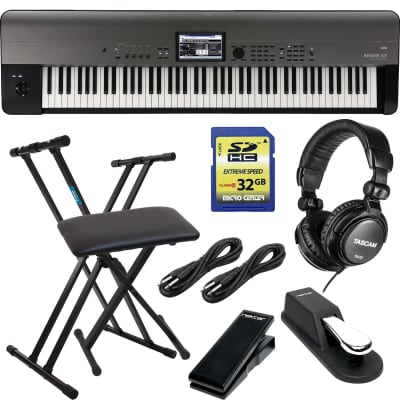 Korg Krome EX 88 – Music Workstation, Keyboard Stand, Bench, Sustain Pedal, Nektar NX-P, (2) 1/4 Cables, Tascam TH02, SD Card 32GB Bundle