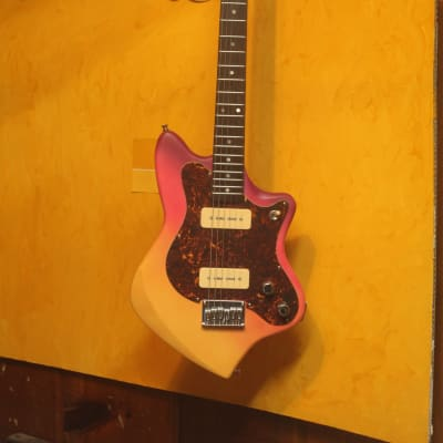Hand Built Airbrushed Peach Sunset Monroe Poplar 6 string Guitar with P90 pickups for sale