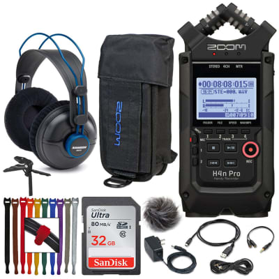 Zoom H4n Pro 4-Input 4-Track Portable Handy Recorder (Black) + Zoom Case and Accesories Pack + More