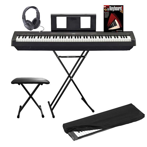 yamaha p series p45 88 key black digital piano complete home reverb. Black Bedroom Furniture Sets. Home Design Ideas