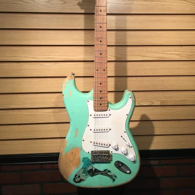 Indiana Indy S-Style Relic Electric Guitar Surf Green with Pinup Sticker for sale