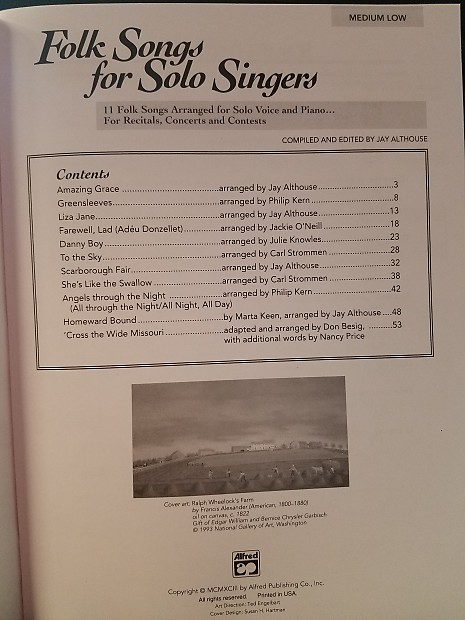 Alfred Music Folk Song For Solo Singers Vol1 Medium Low | Reverb