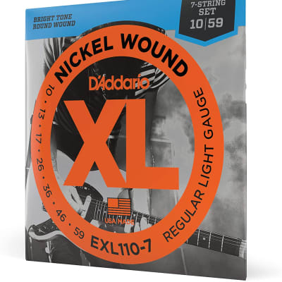 D'Addario Nickel Wound Electric Guitar Strings, 1-Pack, Regular Light, 7-String, 10-59