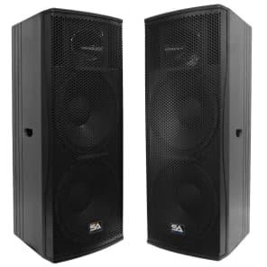 "Seismic Audio Magma-215-PAIR Passive 2x15"" Full-Range 2-Way 1000w Speakers (Pair)"