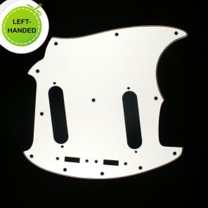 Left-handed Replacment Pickguard For Mustang Classic Series style ,3Ply White