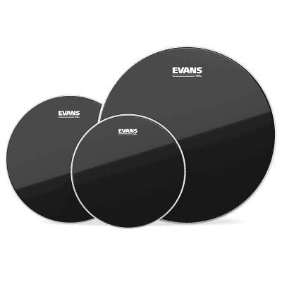 "Evans ETP-CHR-R Black Chrome (10/12/16"") Rock Tom Drum Head Pack"