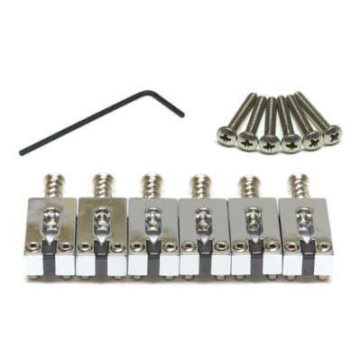Graph Tech String Saver CHROME 6 Saddles Set for Fender Strat/Tele 2-1/16