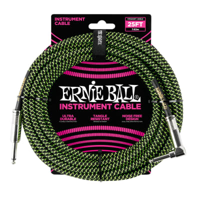 Ernie Ball 25' Straight/Angle Braided Black/Green Cable for sale