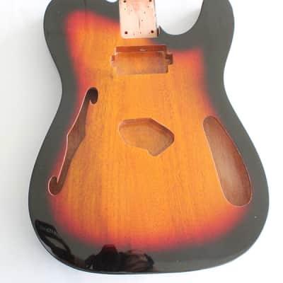"Tele Thinline Style Hollow Guitar Body,Mahogany Wood, Sunburst 3T Gloss Finish,""Humbucker"" Neck Pickup Cavity,Not drilled string Through Body Ferrule holes"