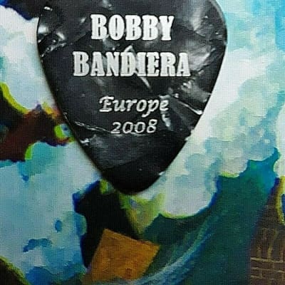 BON JOVI Bobby Bandiera 2008 Europe Tour black marble guitar pick for sale