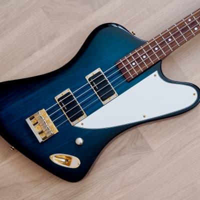 Burny ZB-85 Norio Toshiro Signature T-Bird Bass Guitar Blue Burst Ash, Japan Fernandes for sale