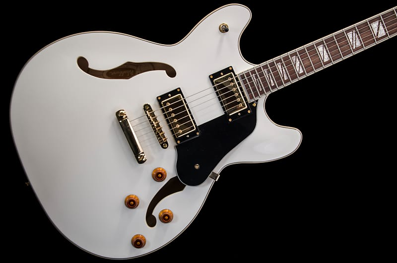 Washburn HB-35 Semi-Hollow Guitar 2014 White w/ case | Reverb