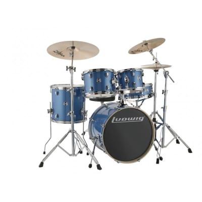 Ludwig Element Evolution 5pc Drum Set with Zildjian I Series Cymbals - 20 Set - Blue Sparkle