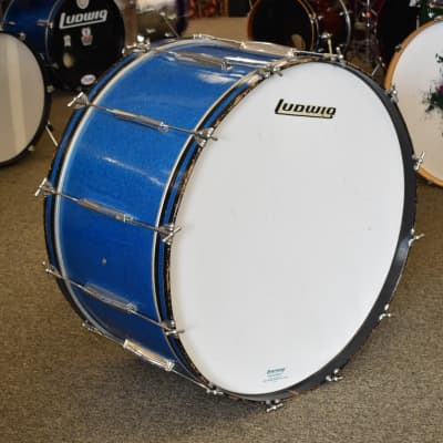 Vintage 70s Ludwig 16 x 32 Concert Bass Drum in Blue Sparkle