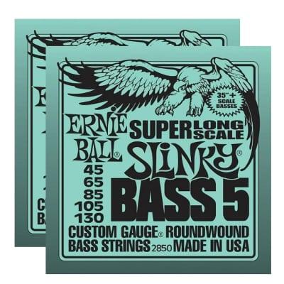 ERNIE BALL Super Long Scale Slinky 5-String Bass Strings (2850) - 2 Pack