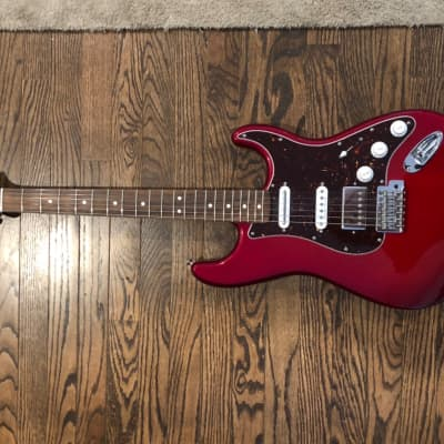 Fender  Fender Special Edition Standard Stratocaster HSS Pau Ferro Fingerboard Candy Red Burst with seymor duncan pickups and a chrome humbucker for sale