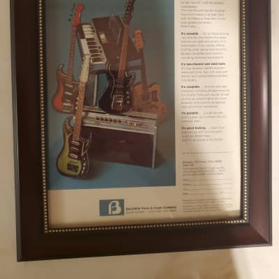 1966 Baldwin Guitars Color Promotional Ad Framed Howard Combo, Amp & Guitars Original