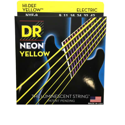DR Strings Guitar Strings Electric Neon Yellow 09-42 Light
