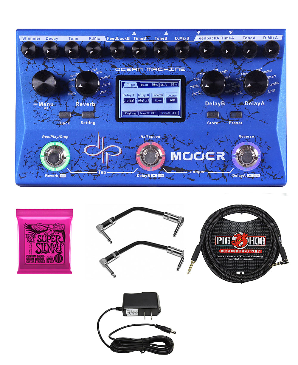 Mooer Ocean Machine Devin Townsend Signature Pedal/AC Adapter/I Pig Hog Cable/Patch Cables/Strings