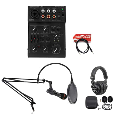 Rockville 1-Person Gaming Twitch Live Stream Recording Kit Mic+Boom+Headphones