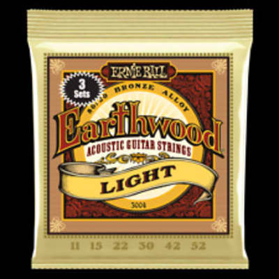 Ernie Ball 3004 Earthwood 80/20 Bronze Light Acoustic Guitar Strings 3-Pack Silver
