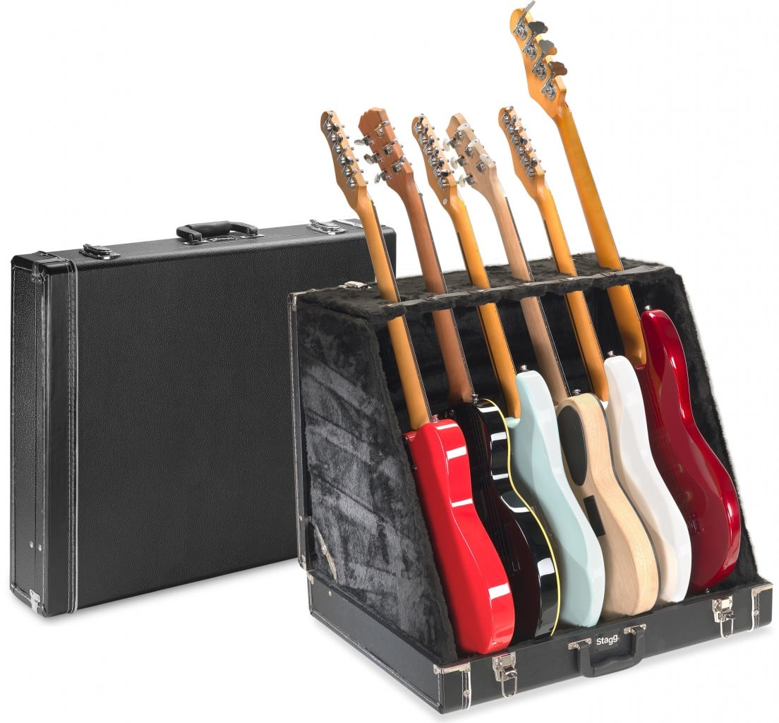stagg 6 electric or 3 acoustic multi guitar stand case reverb. Black Bedroom Furniture Sets. Home Design Ideas